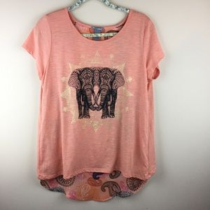 New Directions Peach Color Layered Elephant Top